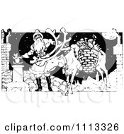 Clipart Vintage Black And White Santa And Reindeer On A Roof Royalty Free Vector Illustration