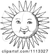 Clipart Vintage Black And White Sun Face Royalty Free Vector Illustration