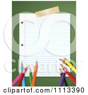 Clipart Ruled School Paper Taped To Green Polka Dots With Colored Pencils Royalty Free Vector Illustration by KJ Pargeter