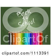 Clipart 3d Colored Pencils Over A Chalkboard With Back To School Text Royalty Free Vector Illustration