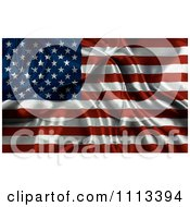 Clipart Rippled Silk American Flag Royalty Free CGI Illustration