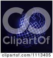 Clipart Futuristic Globe Glowing With Purple Lights Royalty Free Vector Illustration