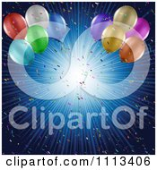 Clipart 3d Party Balloons And Confetti Over A Blue Burst Of Rays Royalty Free Vector Illustration by KJ Pargeter