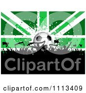Clipart Silhouetted Cheering Crowd Against A Green Soccer Ball Union Jack Flag Royalty Free Vector Illustration
