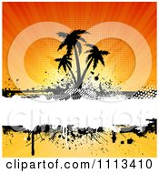 Clipart Grungy Silhouetted Palm Trees Over Grunge Against Rays Royalty Free Vector Illustration