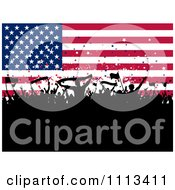 Clipart Silhouetted Cheering Crowd Against An American Flag Royalty Free Vector Illustration by KJ Pargeter