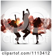 Clipart Silhouetted Dancers Against Abstract Floating Shards On Gray Royalty Free Vector Illustration
