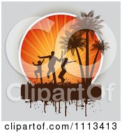Silhouetted Beach Party Dancers Against Sun Rays And Palm Trees With Grunge On Gray
