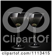Clipart Martinis And Olives On Black Royalty Free Vector Illustration by elaineitalia