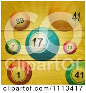 Clipart Bingo Balls And Rays On Wood Planks Royalty Free Vector Illustration by elaineitalia