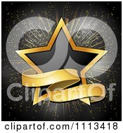 Clipart Black And Gold Star With A Ribbon Banner Royalty Free Vector Illustration by elaineitalia #COLLC1113418-0046