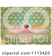 Clipart Retro Cupcakes Over Green Wood Planks With Polka Dots Royalty Free Vector Illustration by elaineitalia