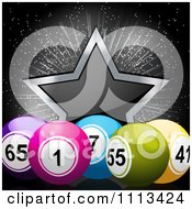 Clipart 3d Bingo Balls And A Star Over Black Royalty Free Vector Illustration