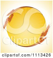 Clipart Round Wheat Frame With A Burst Of Sunshine Royalty Free Vector Illustration