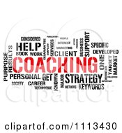 Clipart Red And Black COACHING Word Collage On White Royalty Free CGI Illustration