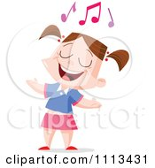 Clipart Girl Singing Under Music Notes Royalty Free Vector Illustration