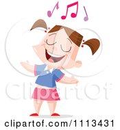 Clipart Girl Singing Under Music Notes Royalty Free Vector Illustration by yayayoyo