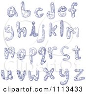 Clipart Blue Ink Doodled Lowercase Letters Royalty Free Vector Illustration