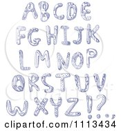 Clipart Blue Ink Doodled Capital Letters Royalty Free Vector Illustration