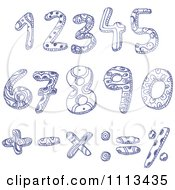 Clipart Blue Ink Doodled Numbers And Math Symbols Royalty Free Vector Illustration