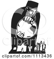 Clipart God Holding The Earth Above People Black And White Woodcut Royalty Free Vector Illustration
