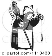 Clipart Woman Holding A Spindle Black And White Woodcut Royalty Free Vector Illustration by xunantunich