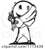 Man Carrying A Happy Face On His Back Black And White Woodcut