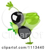 Clipart 3d Green Bell Pepper Wearing Sunglasses And Cartwheeling Royalty Free CGI Illustration
