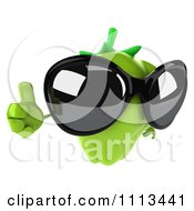 3d Green Bell Pepper Wearing Sunglasses And Holding A Thumb Up