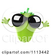Clipart 3d Green Bell Pepper Wearing Sunglasses And Jumping Royalty Free CGI Illustration