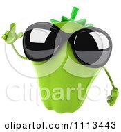 Clipart 3d Green Bell Pepper Wearing Sunglasses And Making A Point Royalty Free CGI Illustration