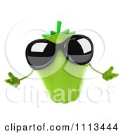 Clipart 3d Green Bell Pepper Wearing Sunglasses And Shrugging Royalty Free CGI Illustration