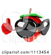 3d Strawberry Wearing Sunglasses And Holding A Thumb Up