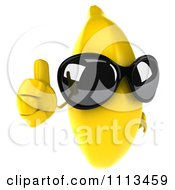 3d Banana Wearing Sunglasses And Holding A Thumb Up