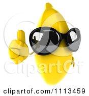 Clipart 3d Banana Wearing Sunglasses And Holding A Thumb Up Royalty Free CGI Illustration