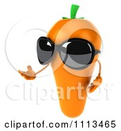 Clipart 3d Carrot Wearing Sunglasses And Presenting Royalty Free CGI Illustration by Julos