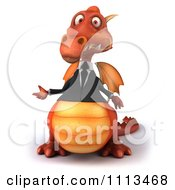 Clipart 3d Red Business Dragon Presenting Royalty Free CGI Illustration by Julos