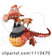 Clipart 3d Red Business Dragon Flying Royalty Free CGI Illustration