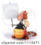 Clipart 3d Red Business Dragon Holding A Sign 1 Royalty Free CGI Illustration
