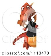 Clipart 3d Red Business Dragon Holding A Sign 3 Royalty Free CGI Illustration