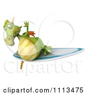 Clipart 3d Green Dragon Surfing 4 Royalty Free CGI Illustration