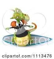Clipart 3d Green Business Dragon Surfing 1 Royalty Free CGI Illustration