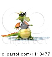 Clipart 3d Green Business Dragon Surfing 2 Royalty Free CGI Illustration