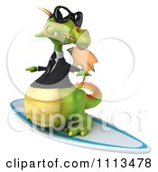 Clipart 3d Green Business Dragon Surfing 3 Royalty Free CGI Illustration