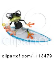 Clipart 3d Business Springer Frog Surfing And Sipping Tea 2 Royalty Free CGI Illustration