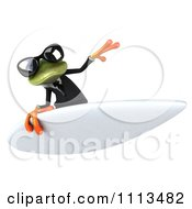 Clipart 3d Business Springer Frog Surfing 3 Royalty Free CGI Illustration