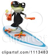 Clipart 3d Business Springer Frog Surfing And Sipping Tea 1 Royalty Free CGI Illustration