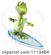 Clipart 3d Green Gecko Surfing 2 Royalty Free CGI Illustration