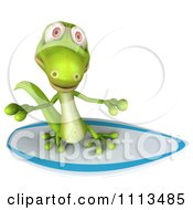Clipart 3d Green Gecko Surfing 3 Royalty Free CGI Illustration