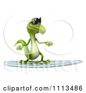 Clipart 3d Green Gecko Wearing Shades And Surfing 3 Royalty Free CGI Illustration